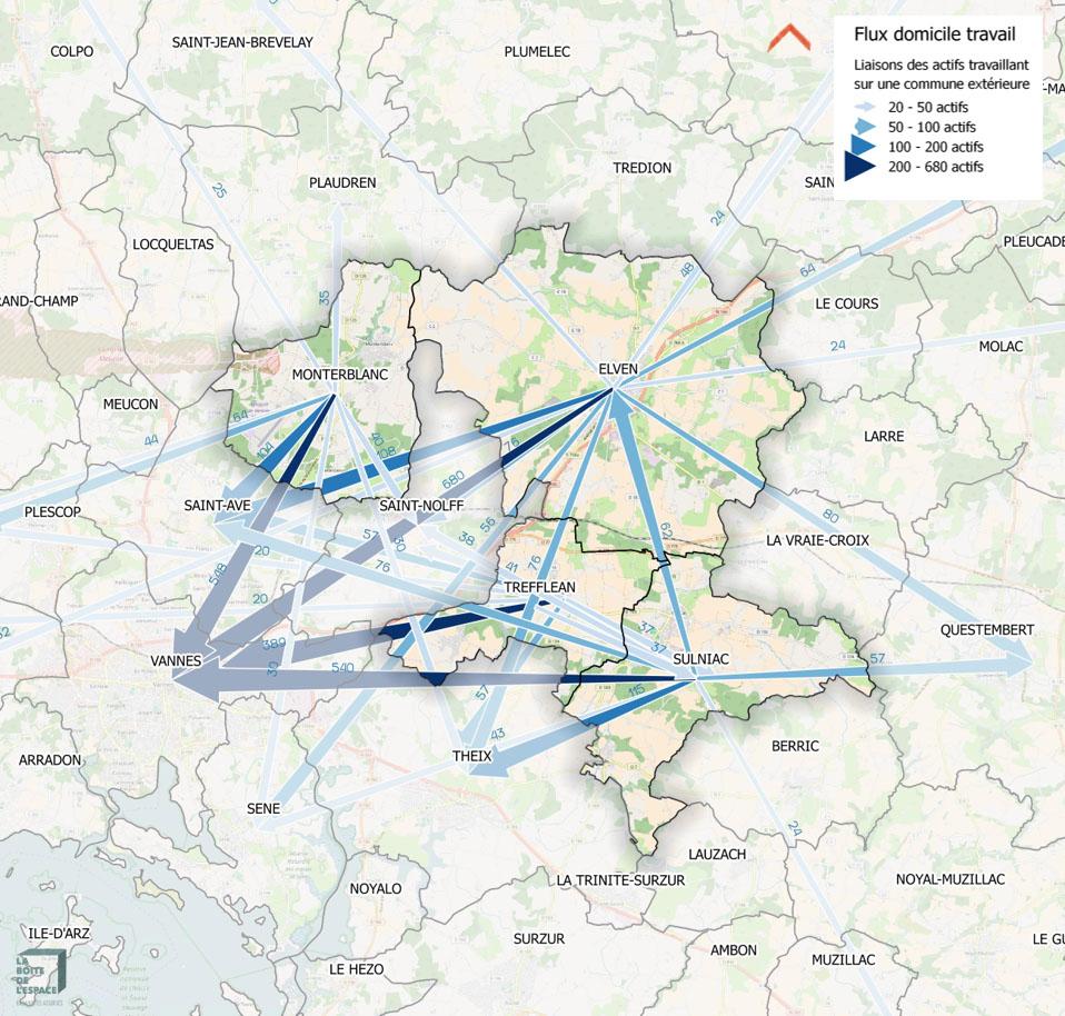 Cartographie des migrations pendulaires<br/>Groupement de 4 PLU